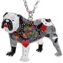 Bonsny Statement Enamel English British Bulldog Bull Terrier Necklaces P... - $13.16