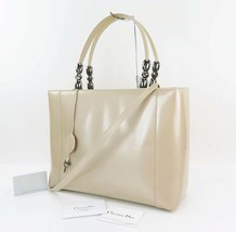 Auth CHRISTIAN DIOR Maris Pearl Beige Patent Leather Hand Shoulder Bag #... - $299.00