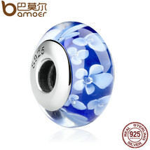 BAMOER 1 pcs Popular 925 Sterling Silver Blue Flower Pattern European Mu... - $42.22