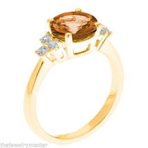 CITRINE & DIAMOND ENGAGEMENT RING 8mm ROUND CUT YELLOW GOLD 2.01 CARATS - €829,85 EUR