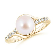 June Birthstone 8mm Solitaire Cultured Akoya Pearl Diamond Ring Size 3-13 - $519.50+