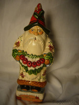 Vaillancourt Folk Art White Brocaded Santa with Red Apple Swag Signed  image 1