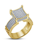 Art Deco Womens Engagement Diamond Ring 14k Gold Finish 925 Sterling Rea... - $71.99