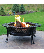 "40"" Fire Pit Black Steel Four Star Design with Spark Screen and Poker - $375.00"