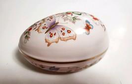 Vtg 1974 Avon Porcelain Butterfly Fantasy Egg Trinket Box 22K Gold Trim Japan - $8.90