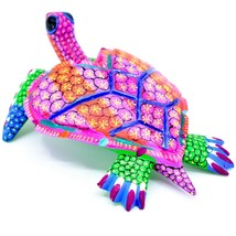 "Handmade Alebrijes Oaxacan Copal Wood Carving Painted Sea Turtle 6.5"" Figurine image 2"