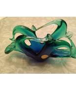 BLUE GREEN MURANO ITALIAN LACY GLASS BASKET NAPKIN HOLDER - $25.00