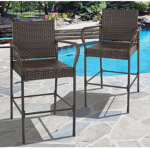Wicker Bar Stool Set 2 Outdoor Patio Furniture Brown Rattan Arms Back De... - $148.45