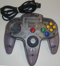 N64 CLEAR ATOMIC PURPLE CONTROLLER NUS-005 Good Thumbstick Nintendo 64 C... - $16.39