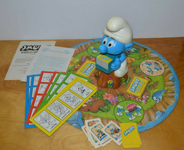 VINTAGE SMURF SPIN A ROUND GAME MILTON BRADLEY 1983 BOARD GAME COMPLETE ... - $10.69