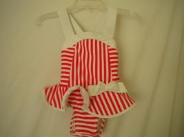 Circo Baby Size 9 Months Red White Stripe Bow Ruffle Girls One Piece Swi... - $4.94
