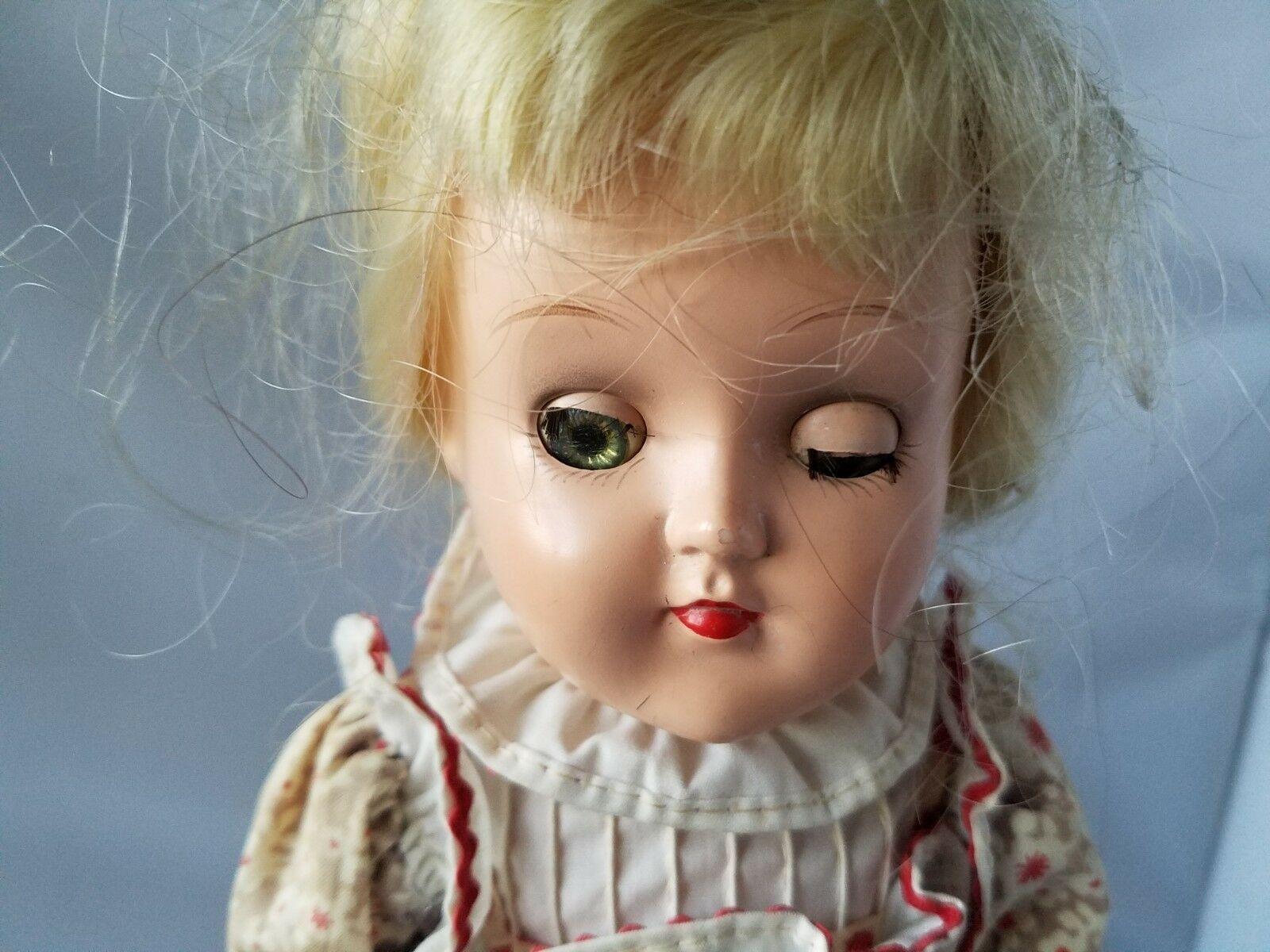 Ideal Doll Vintage Blonde Hair Green Eyes Hard Plastic Doll Toy Dress