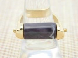 Purple White Marbled Lucite Gold Tone Modernist Vintage Ring Size 7.5 - $29.69