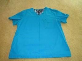 Uniform EUC Nurse Scrubs Smock Echo Unltd brushed cotton blend plain blue r1 - £7.27 GBP