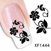 Nail Art Water Transfer Sticker Decal Stickers Pretty Flowers White Blac... - $3.09