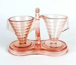 Vintage Ribbed Indiana Pink Depression Tea Room Cream & Sugar w/ Caddy Tray - $25.62