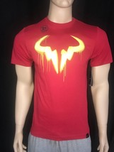 Nike Tennis Rafael Nadal Bull Logo T-shirt Tee Red Yellow - $22.40