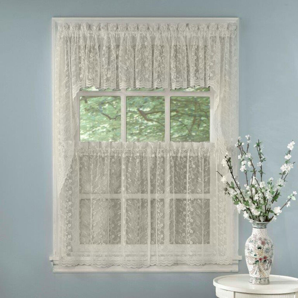 Primary image for Elegant Ivory Priscilla Lace Kitchen Curtains - Tiers, Tailored Valance or Swag