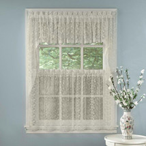 Elegant Ivory Priscilla Lace Kitchen Curtains - Tiers, Tailored Valance or Swag - $11.99+