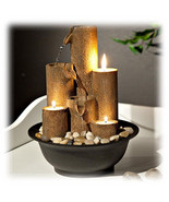 Three Tier Multi Column Pouring Indoor Tabletop Fountain with Tea Light ... - $70.24