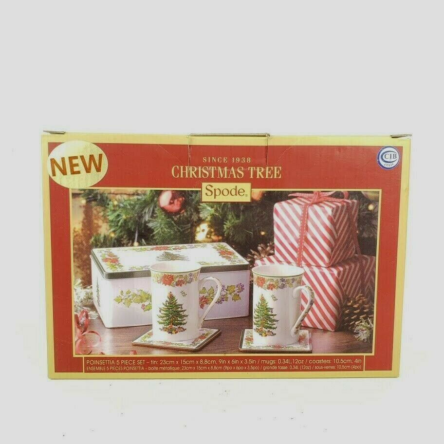 Spode Christmas Tree Poinsettia 5 Piece Set Collector Tin 2 Cups 2 Coasters New - $49.99