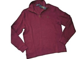 Polo Ralph Lauren Men's Sweater 1/4 Zip Estate Red Burgundy Pull Over Medium M - $58.86