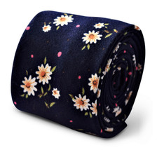 Frederick Thomas navy blue tie with white daisy print design FT3559