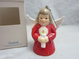 Vtg Red 1988 Goebel porcelain Angel Bell Xmas ornament 13th Ed. MIB - $13.49