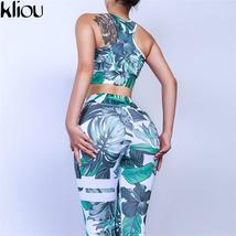 Women Flare Fitness 2 Piece Set Top And Pants Flower Print O-Neck Off Sh... - $29.46