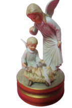 Gorham Gifts Ceramic Music Box Angels Baby Jesus Plays Silent Night Japa... - $19.79