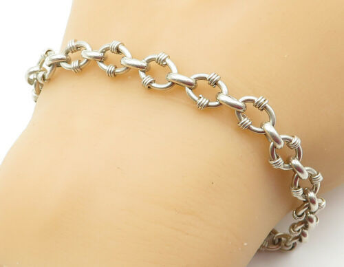 925 Sterling Silver - Vintage Shiny Wire Wrapped Detail Chain Bracelet - B6150