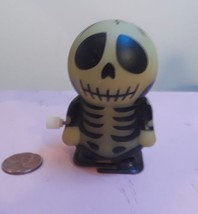 Vintage Halloween Skeleton Toy wind up  w/ white knob , still walks - $9.49
