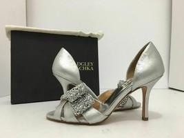 Badgley Mischka Vita Silver  Metallic Suede Women's Evening High Heel Sa... - $58.88