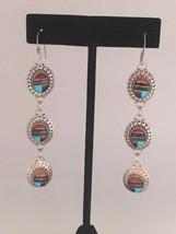 "Navajo by TK Sterling Silver Multi Stone Inlay Dangle Earring (3 5/16"") - $135.00"