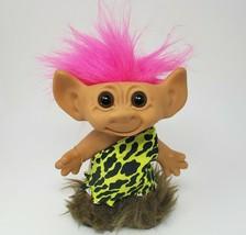 """8"""" Vintage Uneeda Wishnik Troll Dressed As Caveman Original Clothes Pink Hair - $34.64"""