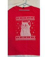 Anvil Christmas snow angel cat red t shirt men 2XL printed sweater look ... - $9.89