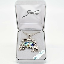 Storrs Wild Pearle Abalone Shell Crab Cancer Zodiac Pendant Silver Tone Necklace
