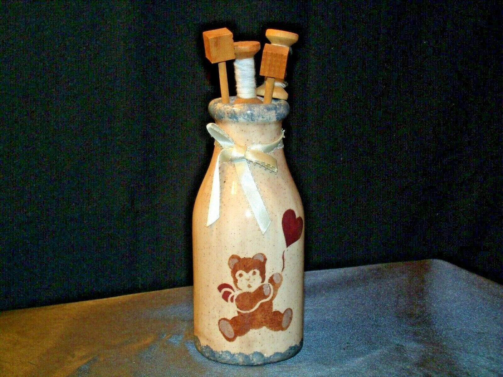Hand Painted Vase with Kitchen Utilizes Decor AB 54a Vintage