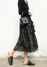 Black Pleated Long Tulle Skirt High Waisted Pleated Tulle Holiday Skirt Outfit image 5