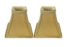 Urbanest Set of 2 Square 5-inch Softback Bell Chandelier Lamp Shade, Gold, Faux  - $15.35