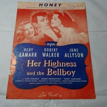 Vintage 1928 Honey Her Highness and the Bellboy Leo Feist Sheet Music  - $9.89