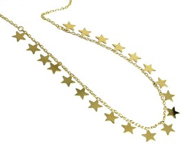 "SOLID 18K YELLOW GOLD NECKLACE WITH 8mm FLAT PENDANTS STARS, ROLO OVAL CHAIN 18"" image 2"
