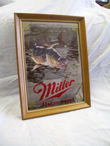 Vintage Miller Mirror Beer Sign Wisconsin Walleye NOS with Box 1980s - $84.15