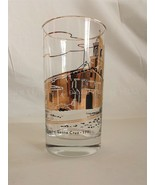 vintage MISSION SANTA CRUZ DRINK GLASS highball SHINY GOLD ON CLEAR 1791 - $22.50