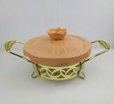 Miramar Of California Ovenproof Baking Dish Casserole with Brass Caddy P... - $28.29