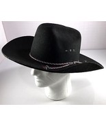 "Trail Boss Mens Black Wool Cattleman Cowboy Hat Size 7 1/4"" 58 Made in USA - $59.95"