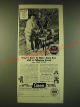 1950 Coleman Folding Camp Stove and Floodlight Lantern Ad - Andy Devine - $14.99