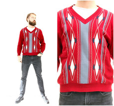 Abstract Knitted Red Sweater Dad's 80s Geometric Pullover M L - $39.90