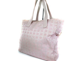 Auth CHANEL Travel line Canvas Leather Pinks Tote Bag CT13596L - $198.00