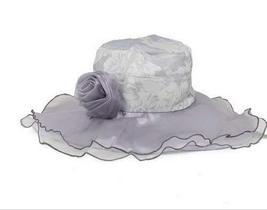 PANDA SUPERSTORE Ladies Lace Cap Grey Sun Hat Beach Hat Wide Brim Floppy Hat for